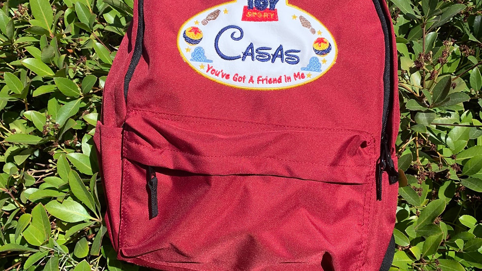 Toy story name tag embroidered backpack
