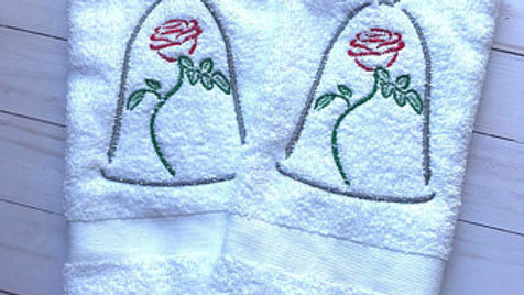 Enchanted Rose embroidered towel, blanket, tote bag, makeup bag - Name embroider