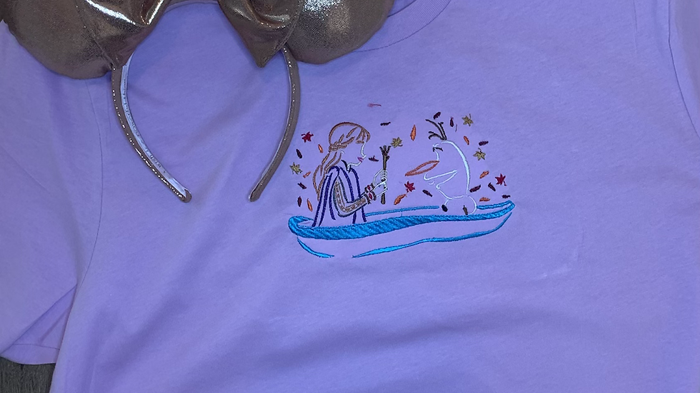 Anna and Olaf in Boat embroidered t-shirt or tank Top
