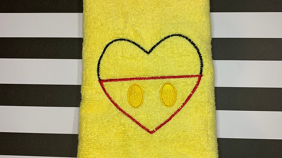 Mickey Pants Heart embroidered towels, blanket, makeup bag