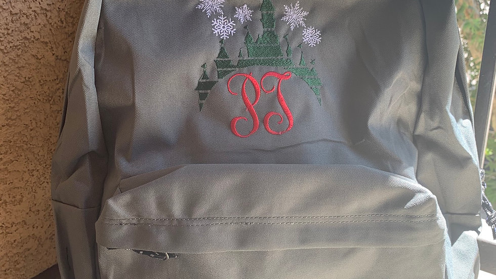 Christmas Castle Monogram embroidered backpack
