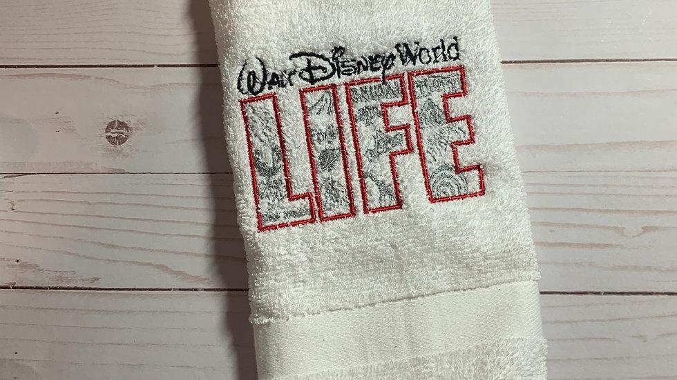 WDW Life embroidered towels, blanket, makeup bag