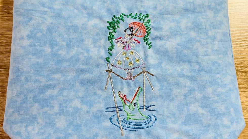 Tightrope girl haunted mansion embroidered makeup bag, tote bag, blanket or towe