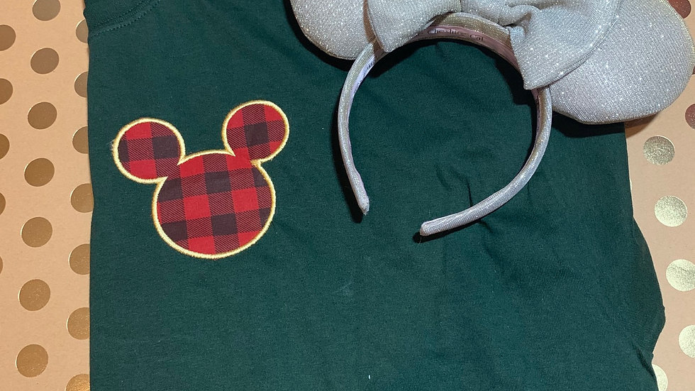 Buffalo Plaid Mouse embroidered T-Shirt or tank top