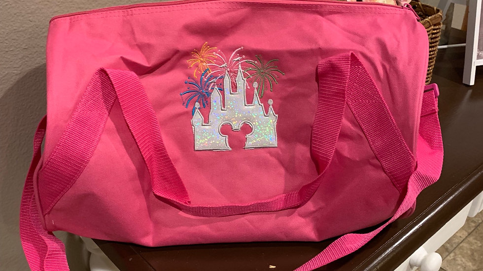 Magical castle fireworks embroidered duffle bag