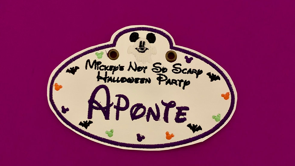 Mickeys not so scary Halloween party stroller tag