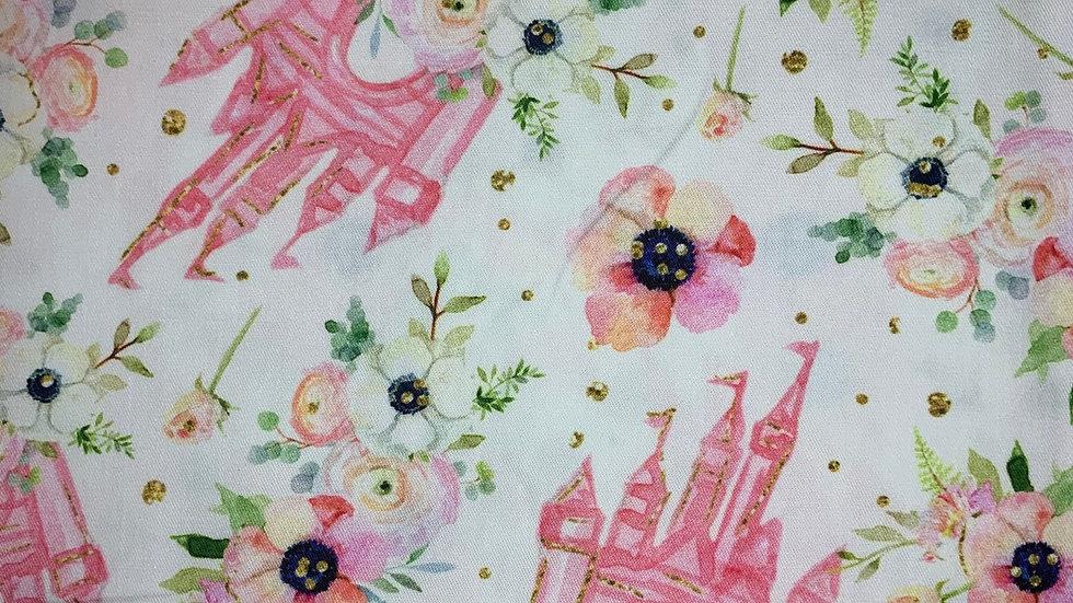 Floral Castle boxy bag or makeup bag