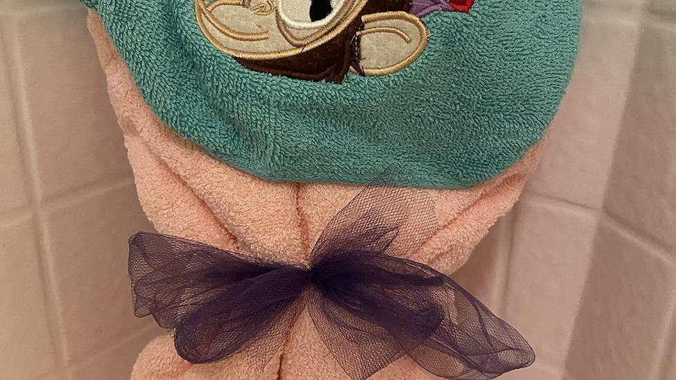 Abu Monkey embroidered hooded towel