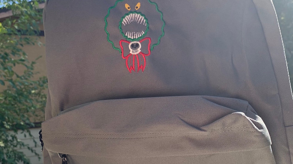 Man Eating Wreath embroidered backpack