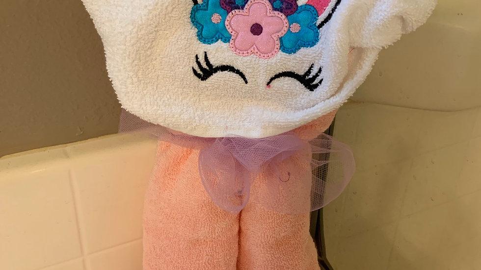 Minimalist unicorn embroidered hooded towel