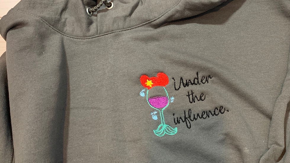 Ariel under the influence embroidered hoodie, pullover, 1/4 zip