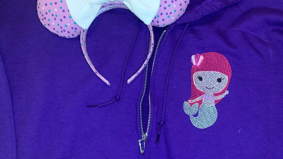 Tiny Ariel embroidered zip up hoodie