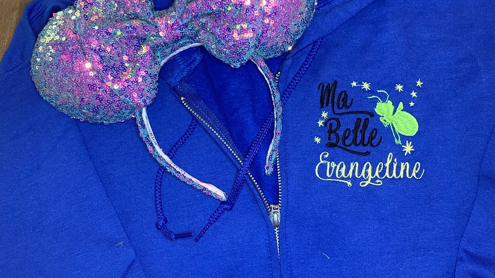 Ma Belle Evangeline - Ray embroidered zip up hoodie