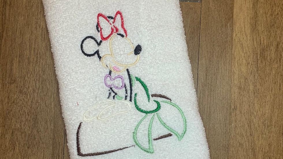 Ariel Minnie Mouse towels, makeup bag, tote
