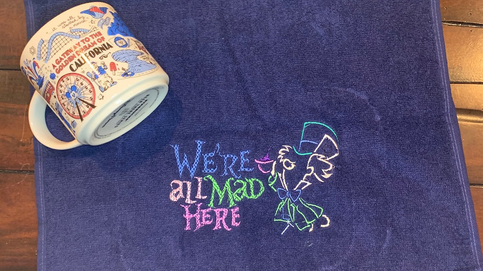 We're all mad here towels, makeup bag, tote bag, bl