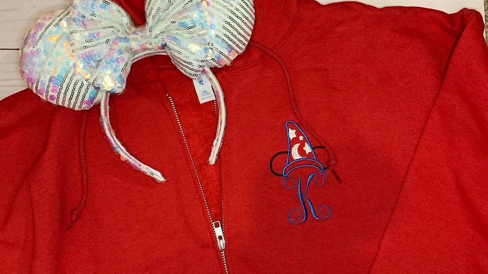 Sorcerer Mickey Monogram embroidered zip up hoodie