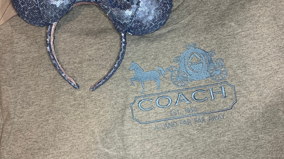 Cinderella Coach Brand embroidered t-shirt or tank top