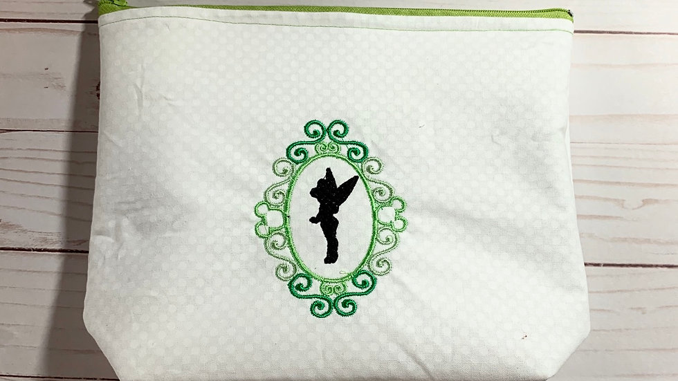 Tinkerbell frame embroidered towels, blanket, makeup bag or tote