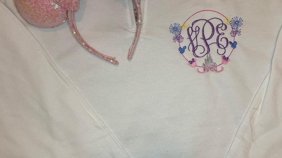 Castle Monogram embroidered hoodie, pullover, 1/4 zip