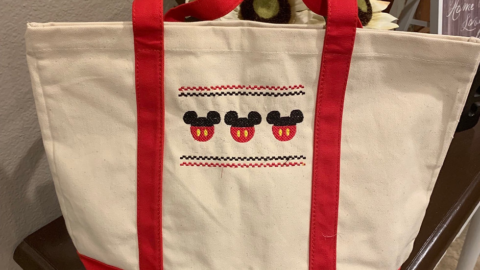 Mickey smock embroidered pocket tote