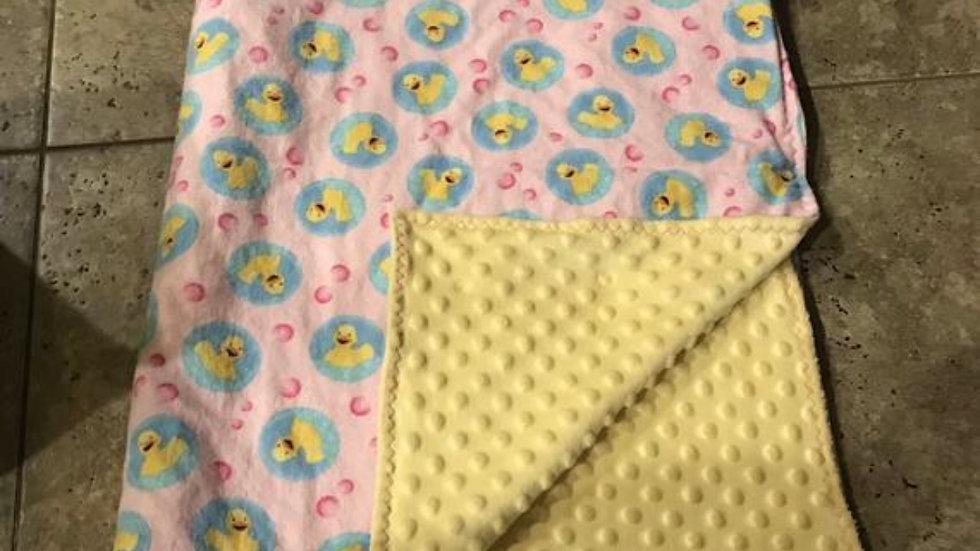 Rubber duckie minky blanket