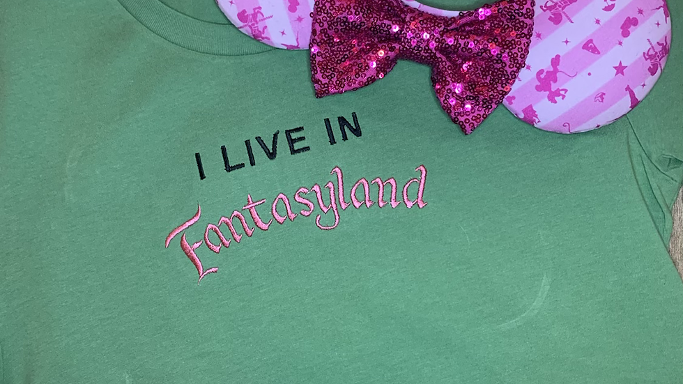 I Live in Fantasyland Embroidered Tee or Tank