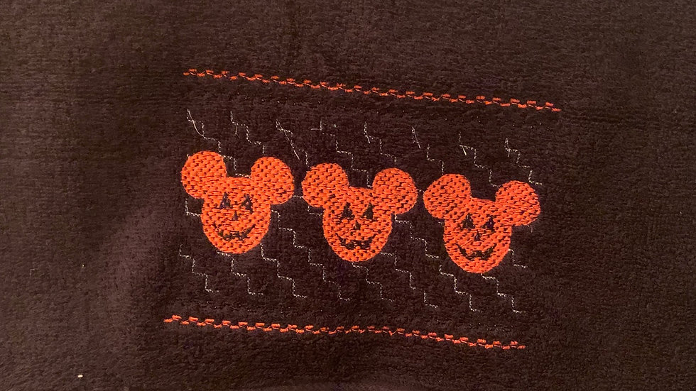 Mickey jack o lantern embroidered towels, blanket, makeup bag or tote
