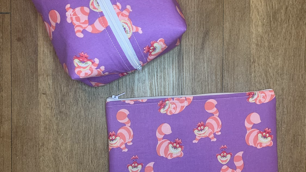Cheshire Cat boxy bag or makeup bag