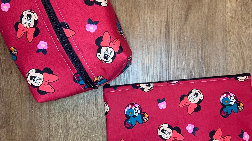 Floral Minnie Heads Makeup Bag or Boxy Bag
