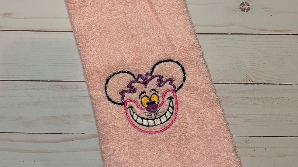 Cheshire cat mouse embroidered towels, blanket, makeup bag