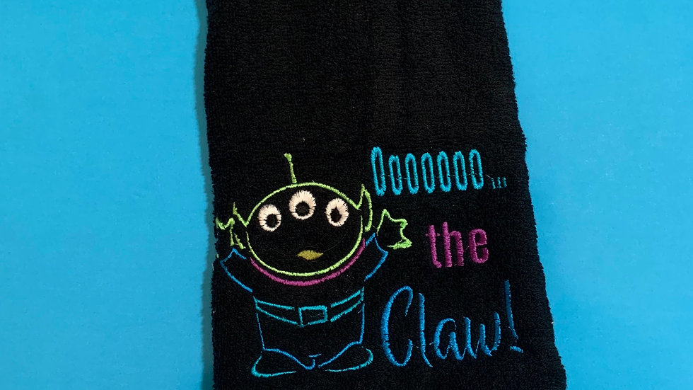 OOOO the claw, little green embroidered towels, blanket, makeup bag or tote ba
