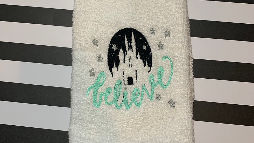 Believe Castle embroidered towels, blanket, makeup bag