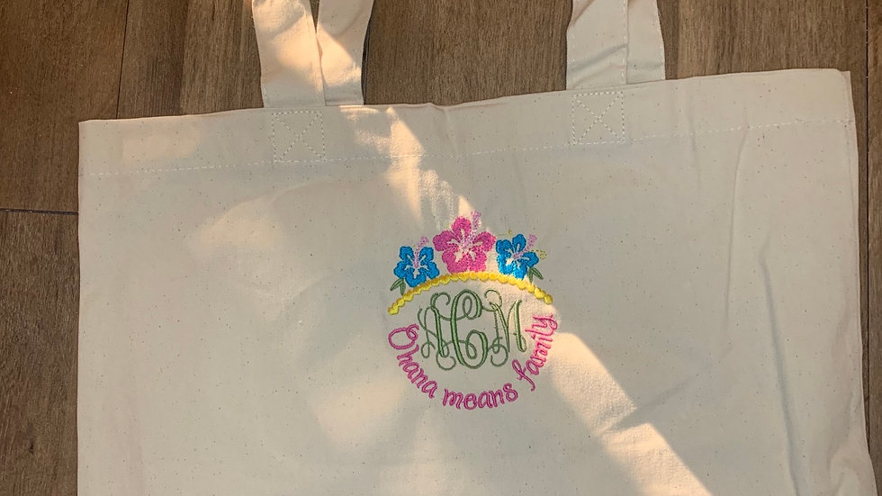 Ohana Means Family Monogram Large Canvas tote