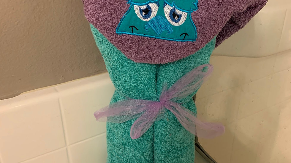 Sully Monsters Inc embroidered hooded towel