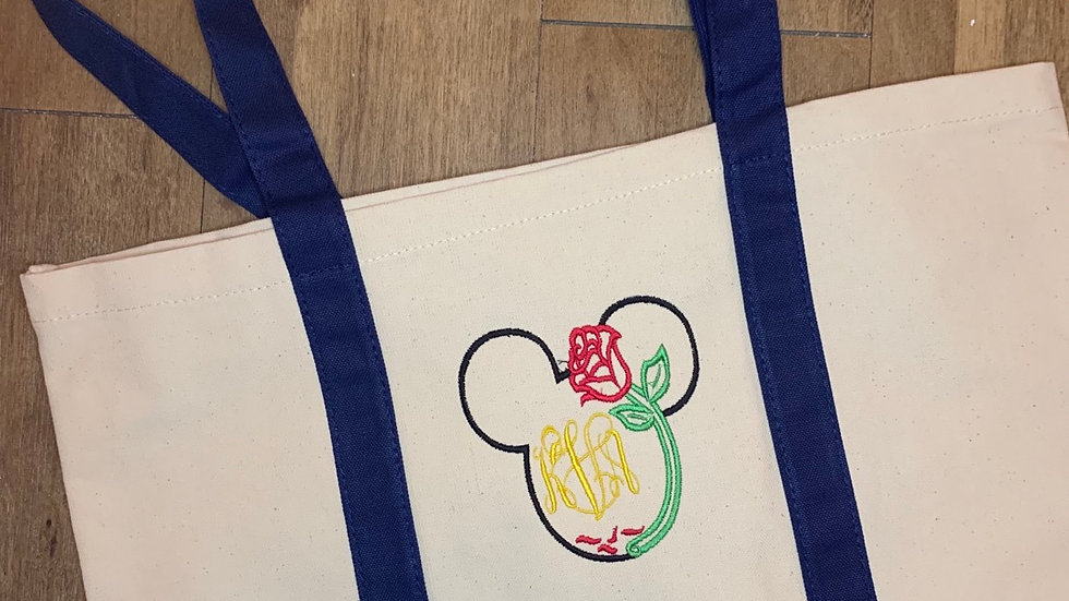 Belle Rose Monogram pocket tote