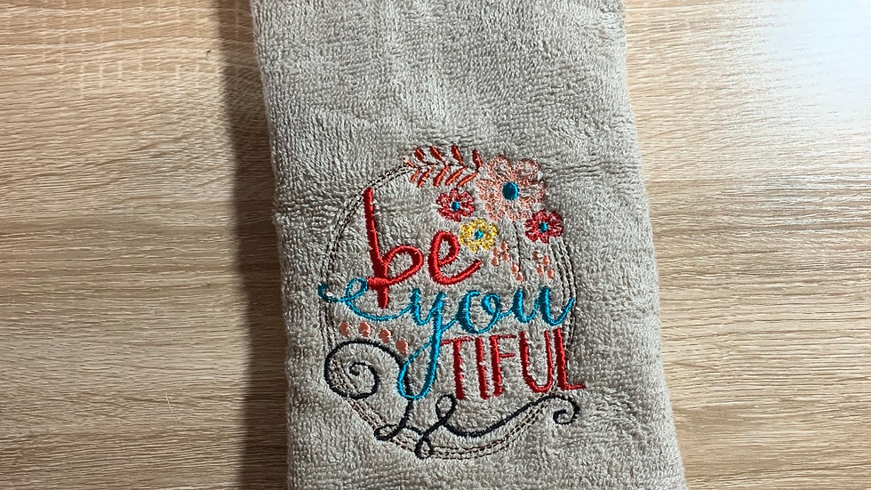 Be You Tiful embroidered towels, blanket, makeup bag or tote bag
