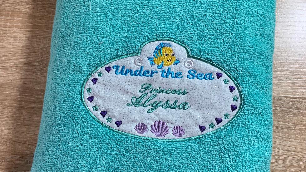 Under the sea name tag embroidered makeup bag, tote bag, blanket, towels