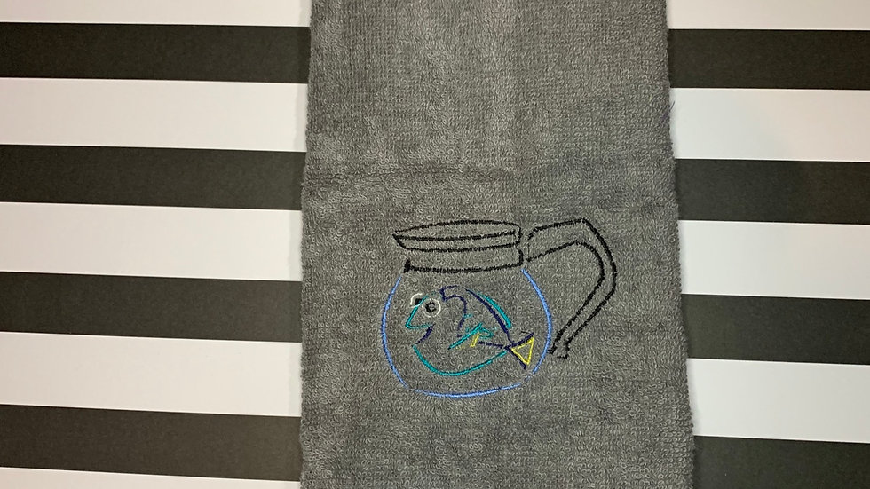 Finding Dory in coffee pot embroidered towels, blanket, makeup bag
