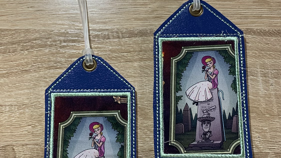 Bo Peep and Woody embroidered luggage tag