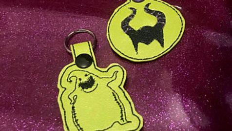 Disney villains embroidered keychain/Oogie Boogie/Maleficent