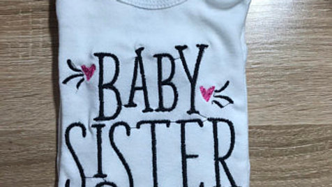 Baby Sister embroidered onesie
