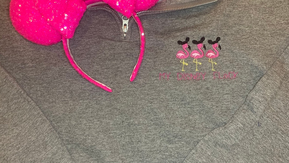 My disney Flock - Flamingos embroidered hoodie, pullover, 1/4