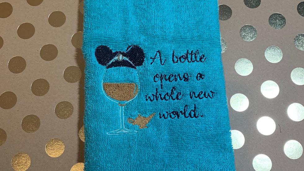 Jasmine Wine Glass embroidered towels, blanket, makeup bag