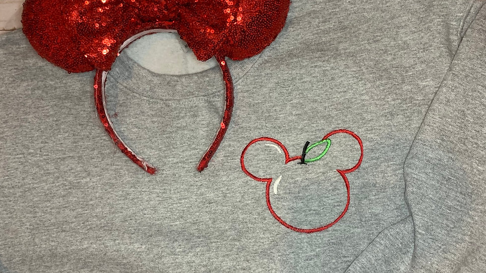 Mickey Mouse Apple embroidered hoodie, pullover, 1/4 zip