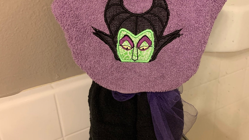 Maleficent embroidered hooded towel