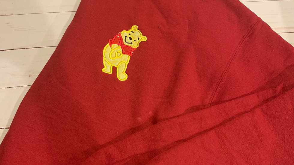Pooh bear embroidered hoodie, pullover or 1/4 zip