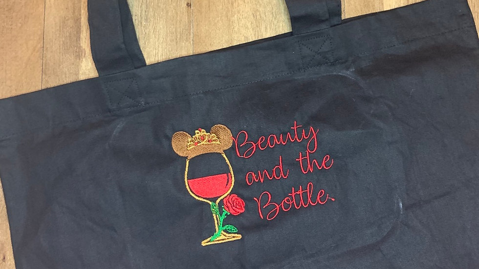 Beauty and the Bottle Large Canvas Tote