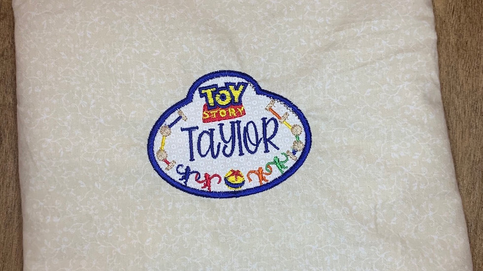 Toy Story name tag embroidered makeup bag, tote bag, blanket, towels