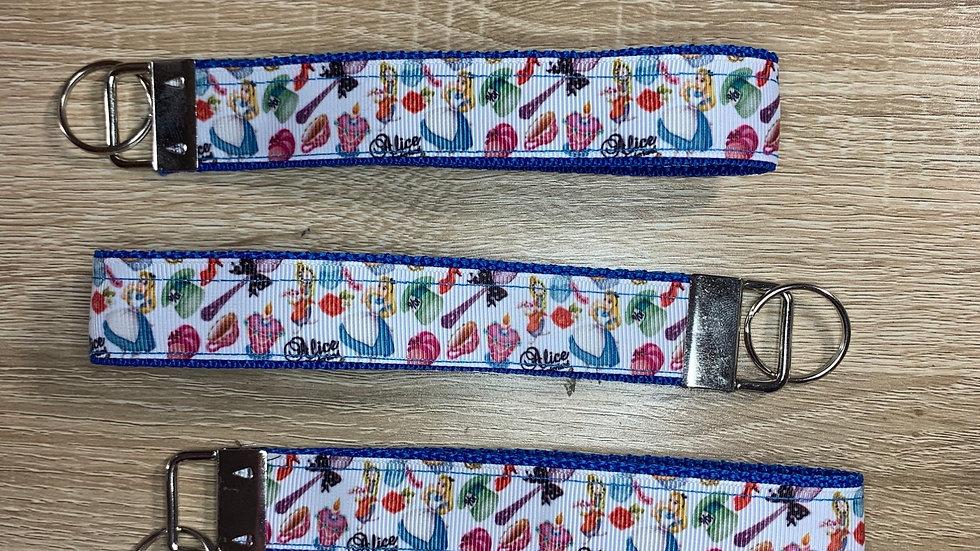 Alice in Wonderland keychain wristlet