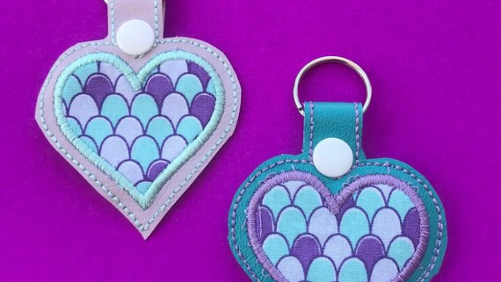 Mermaid scales heart embroidered keychain